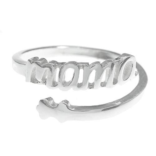 Anillo Mamá ajustable de Plata de Ley 925 - Regalos para...