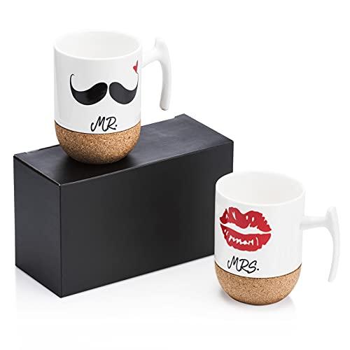 Love-KANKEI® Mr Mrs Tazas de cerámica con fondo de corcho...
