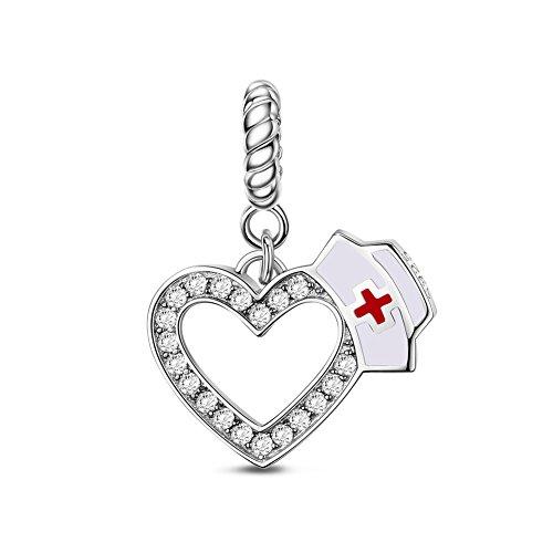 Tinysand - Abalorio con corazón y circonita (compatible con...