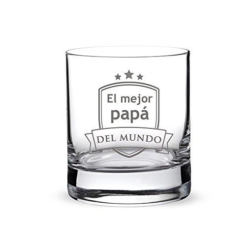 """AMAVEL – Vaso de Whisky con Grabado – """"El Mejor papá..."""