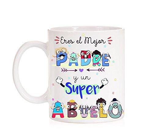 FUNNY CUP Taza Eres un Gran Padre y un Super Abuelo Taza de...