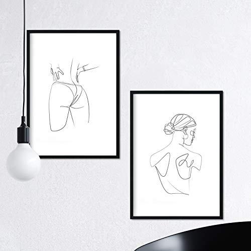 Nacnic Set de 2 láminas de Dibujos con un Solo Trazo Mujer...