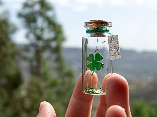 Trébol buena suerte Mensaje en una botella. Miniaturas....