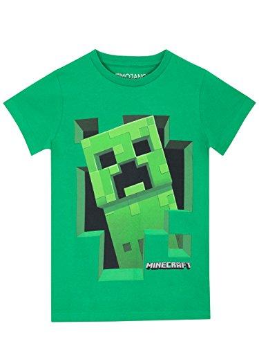Minecraft Camiseta para niños, 8-9 años, verde