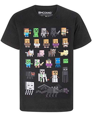 Camiseta para chicos de Minecraft Negro negro 7-8 Years