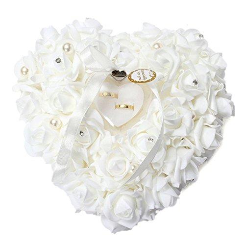 Yosoo 15x13cm Rose Blanca romántica de la Boda del Anillo...