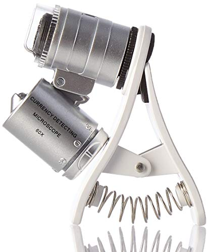 KUYiA Microscopio de Bolsillo, 60x LED Clip-Type Mini...