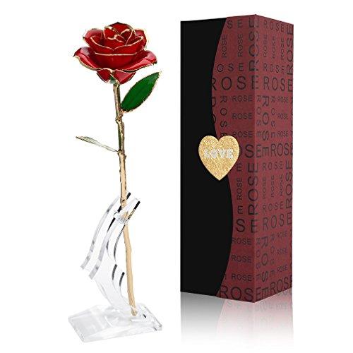 Gomyhom Rosa 24K, Rosa de Oro Chapada en Oro con Caja de...