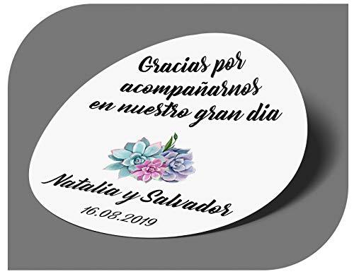 CrisPhy Pegatinas Personalizadas Boda con Nombre y Fecha,...