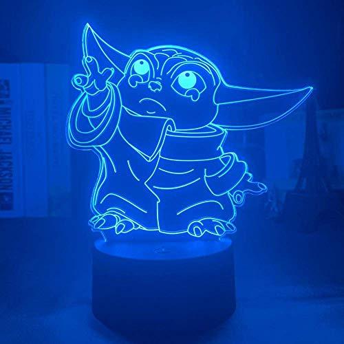 Lámpara de ilusión 3D Luz de noche Led Star Wars Baby Yoda...