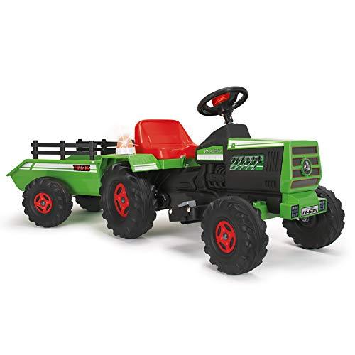 INJUSA - Tractor Basic 6V Verde con Remolque Luces y Sonidos...