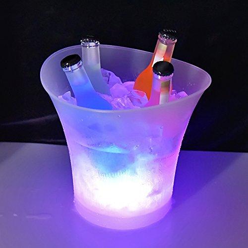 Colorido LED Luz Hielo Cubo de Champán,LED Ice Bucket 5L de...