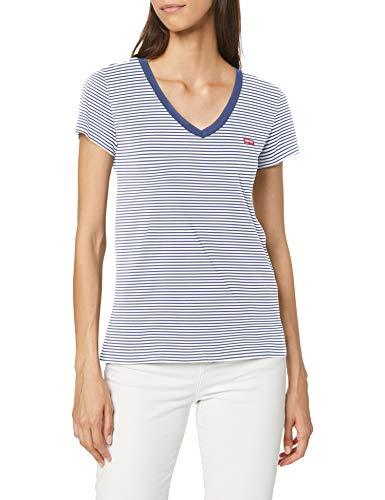 Levi's Vneck Camiseta de Manga Corta, Annalise Stripe Blue...
