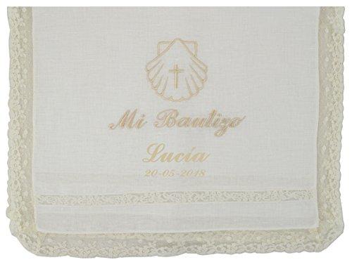 Paño bautismal color beige bordado con el mensaje'Mi...