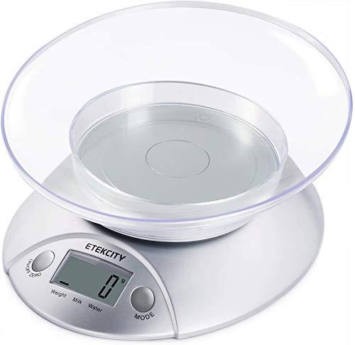 ETEKCITY Báscula Digital de Cocina con Bol Removible, 5 kg...