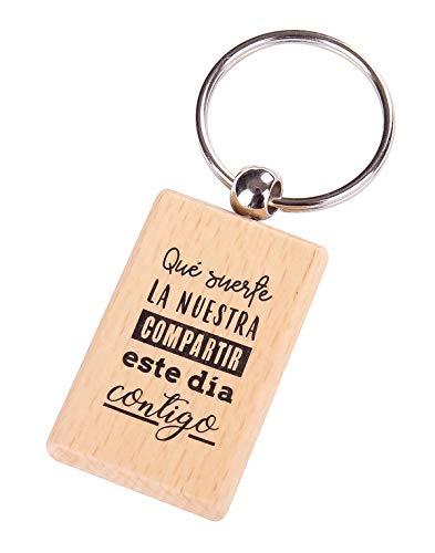 Lote de 12 Llavero de Madera con Frases Suerte La Nuestra -...