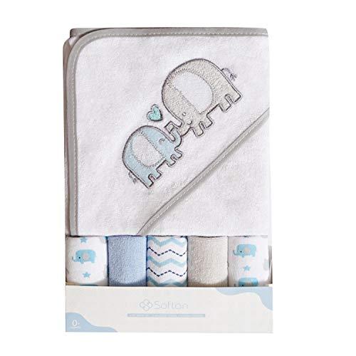 Toalla de baño con capucha y toallitas para bebé, Extra...