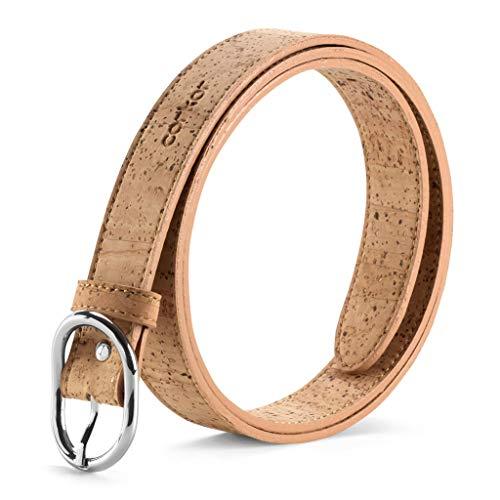 Corkor Cinturón para Mujer Con Hebilla Plateada Vegano de...