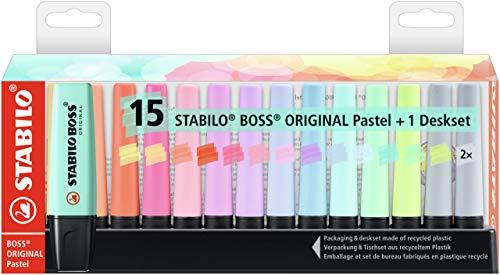 Marcador STABILO BOSS ORIGINAL pastel - Set de mesa con 15...