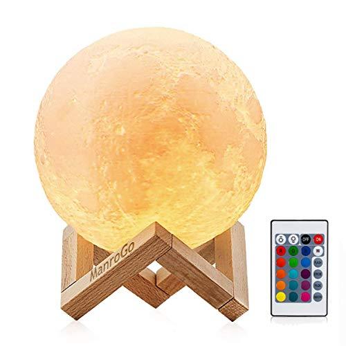 Lámpara Luna 3D, ManroGo 15CM Control Remoto y Control...