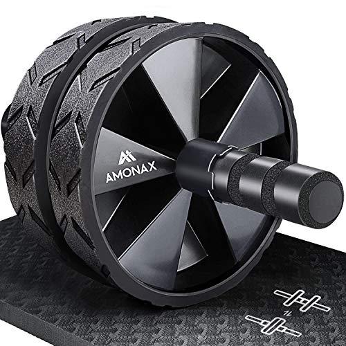 Amonax - Rodillo de rueda para abdominales con alfombrilla...