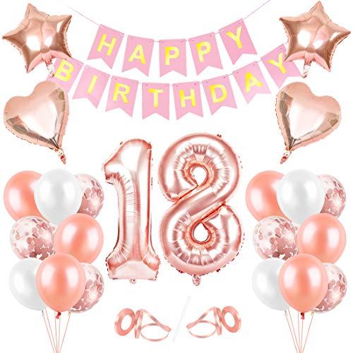 Globos Cumpleaños 18 año, 18 Oro RosaDecoraciones,...