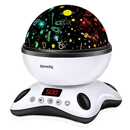 Moredig Lámpara Proyector Estrellas, 360° Rotación Músic...