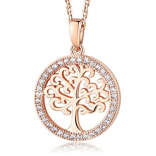 MEGA CREATIVE JEWELRY Collar Árbol de la Vida Oro Rosa...