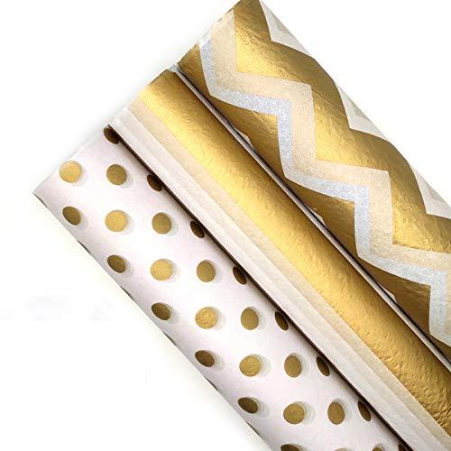 45 hojas de papel de regalo metálico dorado,Papel de Seda...