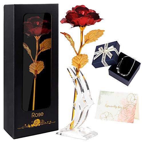 Joyhoop Rosa Eterna, Rosa Roja con Base y Tarjeta de...