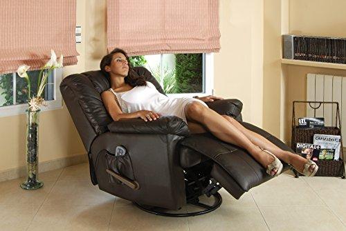 ECODE Sofá de masaje balancín giratorio en piel con calor...