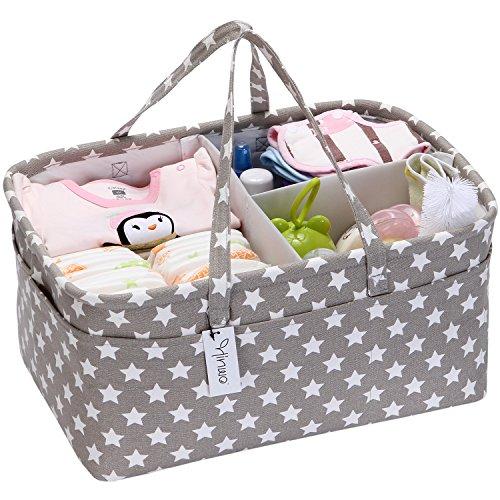 Hinwo - Cesta para pañales de bebé, 3 compartimentos,...