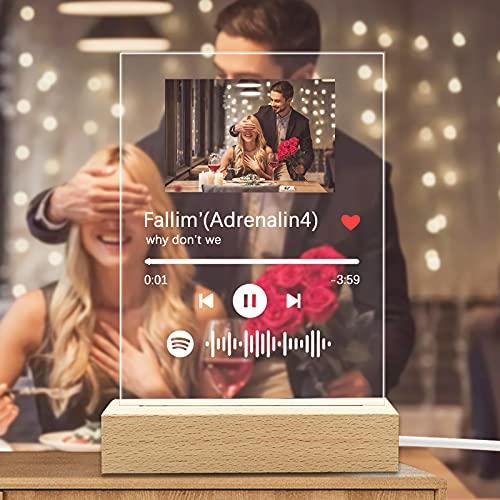 Q&K Arte de Vidrio de Spotify Personalizado Música Placa...