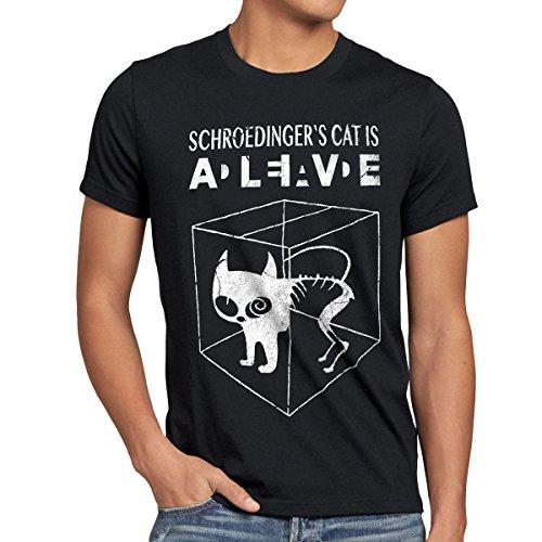 style3 Gato de Schrödinger Camiseta para Hombre T-Shirt...