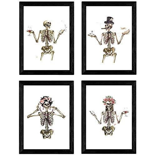 Nacnic Set de 4 láminas Cuatro Esqueletos con Disfraces....