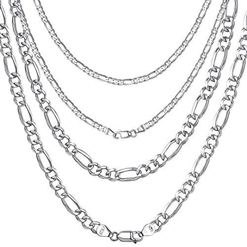 ChainsHouse 5mm Cadenas Plata Hombre 55cm Collar Oro Blanco...
