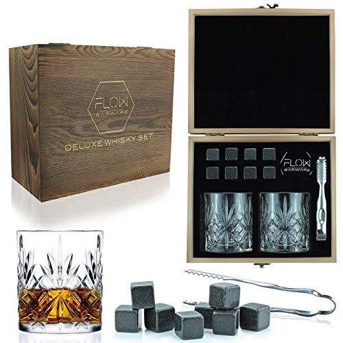 Flow Barware - Juego de vasos de whisky y vasos de whisky de...