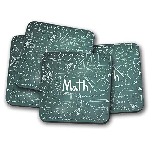 Juego de 4 posavasos de pizarra de matemáticas, regalo para...