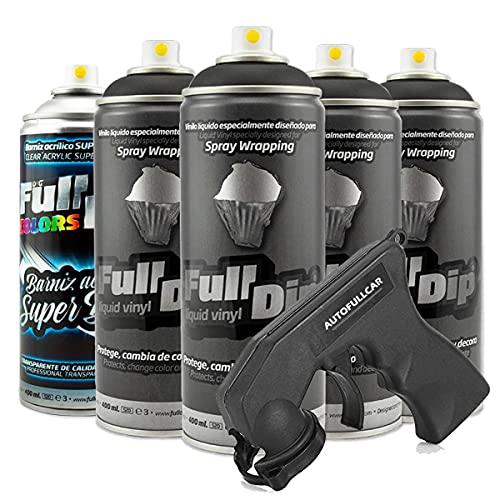 Pack Llantas Vinilo LIQUIDO Full Dip 4 Sprays Negro Brillo