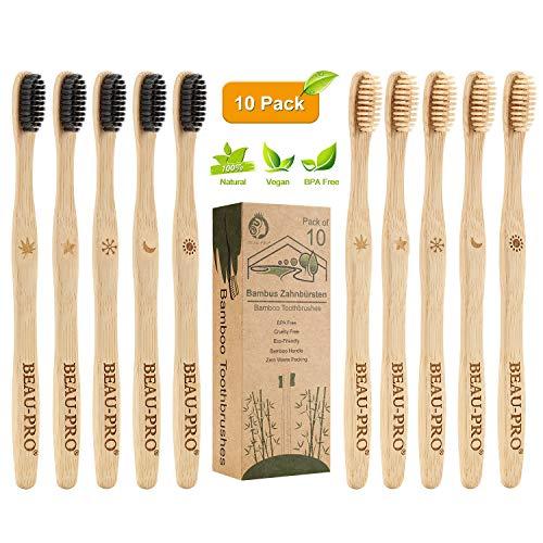 Cepillo Dientes Bambu, Paquete de 10 Cepillos de Dientes, 5...