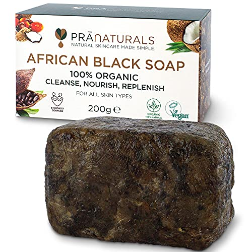 PraNaturals Jabón Negro Africano 200g, Orgánico y Vegano...