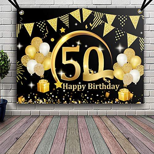 APERIL Decoración de Fiesta de 50 Cumpleaños de Oro Negro,...